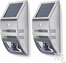 2er SET JVS-LICHT Solarleuchten 0.6W Kaltweiss (6000k) mit Bewegungsmelder Außen LED Solarleuchten Außenleuchte Wandleuchte für Terrasse Zaun Treppen Auffahrt Garten - mit Edelstahl Gehäuse (Silber)