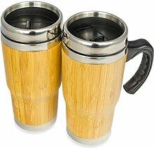 2er SET Kaffee to-go Becher, 450ml, doppel Wand-Isolierung, Coffee travel Mug, modernes Bambus und Edelstahl Design, perfekt für alle Heißgetränke, umweltfreundlicher Teegenuß, anti-rutsch Pad