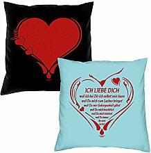 2er-Set Kissen 40x40 : Geschenkidee Liebe Valentinstag : Valentinstagsgeschenk :: Herz & Ich liebe Dich weil : Farben: schwarz & hellblau