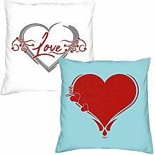 2er-Set Kissen 40x40 : Geschenkidee Liebe Valentinstag : Valentinstagsgeschenk :: Love Herz & Herz : Farben: weiss & hellblau