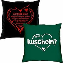 2er-Set Kissen 40x40 : Geschenkidee Liebe Valentinstag : Valentinstagsgeschenk :: Ich liebe Dich weil & kuscheln : Farben: schwarz & dunkelgrün