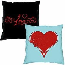 2er-Set Kissen 40x40 : Geschenkidee Liebe Valentinstag : Valentinstagsgeschenk :: Love & Herz : Farben: schwarz & hellblau