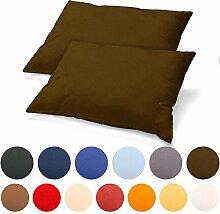2er Set Kissenbezug 40x80 Jersey Qualität Kissenhülle mit Reißverschluss 100% Mako-Baumwolle, Classic Line aqua-textil 0011458 dunkel-braun