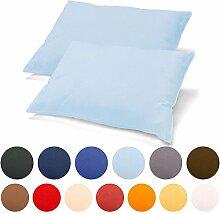 2er Set Kissenbezug 40x80 Jersey Qualität Kissenhülle mit Reißverschluss 100% Mako-Baumwolle, Classic Line aqua-textil 0011455 aqua-blau