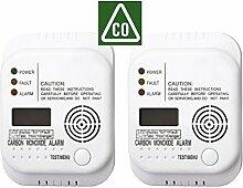 2er SET Kohlenmonoxid Melder mit Display und Temperaturanzeige, Prüftaste - CO-Melder