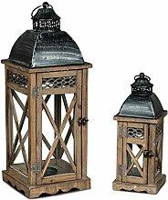 2er Set Laterne Braun Gebürstet Holz Windlicht Shabby Chic Landhausstil Kerzenständer Dekoration