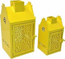 2er Set Laterne Vogelhaus Metall gelb