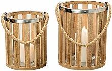2er- Set Laterne Windlicht aus Holz Gartendeko