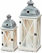 2er Set Laternen aus Holz, Metall und Glas - Windlichter Farbe weiß - Tischlaternen Holzlaternen Gartenlaternen Shabby Chic Landhaus Dekoration