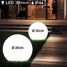 2er Set LED Außen Leuchten Solar Kugel Strahler