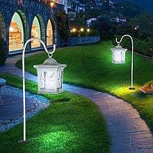 2er Set LED Außen Solar Lampe Steh Hänge Laterne