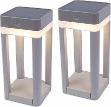 2er Set LED Außen Solar Lampen Steck Erdspieße