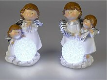 2er Set LED Dekofiguren Engelpaar H. 21cm weiß