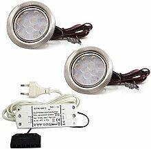 2er Set LED Einbauleuchte Möbelleuchte
