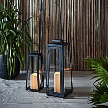 2er Set LED Metall Solarlaternen Yarra mit Kerzen 29,5cm 39,5cm Außen Lights4fun
