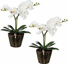 2er Set LED Orchideen Blumen Topf Tisch Leuchten