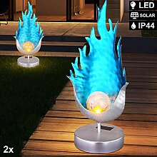 2er Set LED Solar Außen Steh Leuchten Flammen