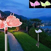 2er Set LED Solar Dekospieß Schmetterling