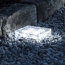 2er Set LED Solar Glas Pflastersteine