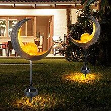 2er Set LED Solar Lampen Außen Erdspieß Steck