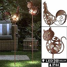 2er Set LED Solar Lampen Katzen Design Garten