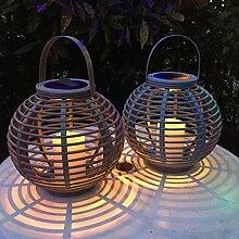 2er Set LED Solar Laterne Gartendeko Rattan Optik