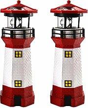 2er Set LED Solar Leuchtturm 28 cm | Garten Deko