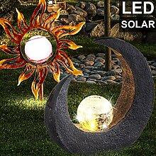 2er Set LED Solar Steck Lampen Sonne Mond Design