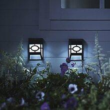 2er Set LED Zaun Solarleuchten Wandleuchten Gartendeko Lights4fun