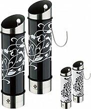2er Set Luftbefeuchter Ornament - Edelstahl-Verdunster - 5 x 20,5 cm (ØxH) - schwarz/weiß oder weiß/schwarz - Wasserverdunster für Heizung - Raumbefeuchter - Heizung, Farbe:Schwarz/Weiß