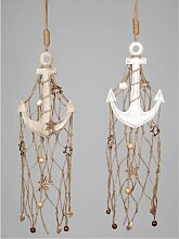 2er Set maritime Deko Hänger Anker mit Netz L. 70cm B. 16cm Holz Formano F18 (19,50 EUR / Stück)