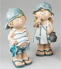2er SET maritime Dekofiguren Mädchen + Junge stehend H. 25cm Formano F18 (29,50 EUR / Stück)