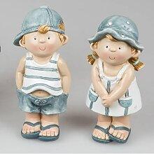 2er SET maritime Kinder Dekofiguren Mädchen + Junge H. 16cm Keramik Formano F18 (13,50 EUR / Stück)
