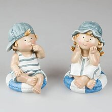 2er SET maritime Kinder Dekofiguren Mädchen + Junge sitzend H. 18cm Keramik Form (19,50 EUR / SET)