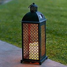 2er Set Marokkanische LED Solar Laterne Gartendeko schwarz Lights4fun