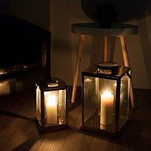 2er Set Metalllaterne H40,5 / 30cm messingfarben inkl. Aufhängung, Echtglasscheiben - Laterne Windlicht Gartenlaterne Kerzenhalter Gartenbeleuchtung Dekoration