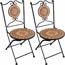 2er Set Mosaikstühle Mosaik Gartenstühle Klappstühle Bistrostühle Balkonstühle klappbar