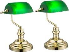 2er Set Nostalgie Antik Retro Tisch Lampe Banker