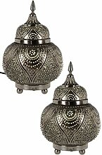 2er Set Orientalische Messing Tischlampe Lampe