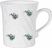 2er Set- Porzellan gedreht- Tasse, Kaffeepott, Becher- Motiv Vergißmeinnich