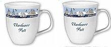 2er Set- Porzellan- Große Tasse, Kaffeepott, Becher- Usedom -deutsches Produktdesign