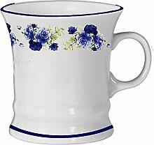 2er Set- Porzellan - Tasse, Haferl, Kaffeepott, Becher- Motiv Rosenstrauß blau