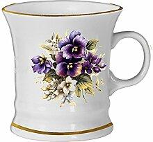 2er Set- Porzellan - Tasse, Haferl, Kaffeepott, Becher- Motiv Stiefmütterchen
