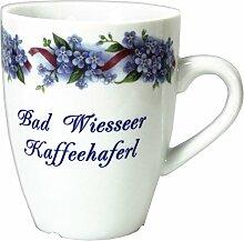 2er Set- Porzellan- Tasse, Kaffeepott, Becher - Bad Wiesseer - Motiv Vergißmeinnich