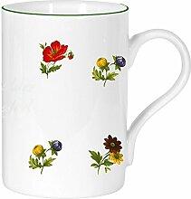 2er Set- Porzellan - Tasse, Kaffeepott, Becher mit Farbrand- Motiv 2 Blumen