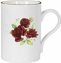 2er Set- Porzellan - Tasse, Kaffeepott, Becher-Motiv Rosenstrauß