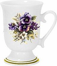 2er Set- Porzellan - Tasse, Kaffeepott, Kakao Becher- Motiv Stiefmütterchen