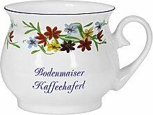2er Set- Porzellan - Tasse, Kaffeepott, Kugel Becher- Bodenmais- Motiv Blumenranke