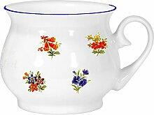 2er Set- Porzellan - Tasse, Kaffeepott, Kugel Becher mit Farbrand- Motiv Blumen