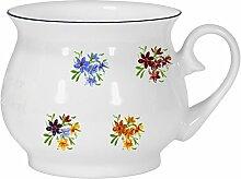 2er Set- Porzellan - Tasse, Kaffeepott, Kugel Becher mit Farbrand- Motiv 4 Blumen